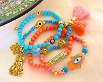 Hamsa and Buddha meditation yoga bracelet stack , protection amulet bracelet set , healing jewelry , bohemian gypsy bracelets with tassel