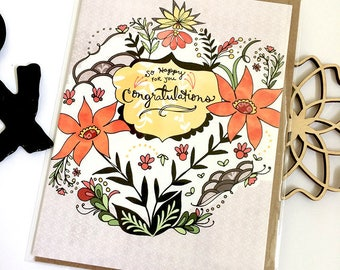 Congratulations Card - Congrats greeting card, so happy for you cards, paper goods, congratulations greeting cards