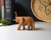 Vintage Solid Wood Elephant, Hand Carved African Safari, Wooden Elephant, Wood Animal Figurine, Safari, African Decor, MCM Home Decor, Boho