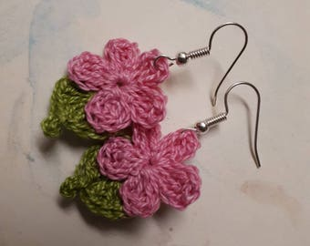 Pink Crochet Flower Earrings. Handmade Crochet Flower Earrings.