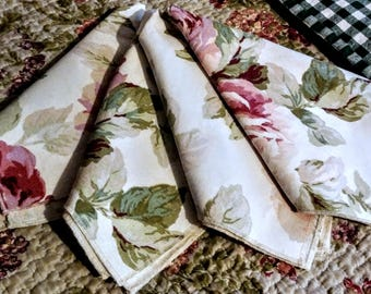 Napkins, Upcycled, Roses, Table Linen, Rose Napkins, Set of Four, Shabby Chic, Cottage, Fabric Napkins