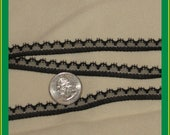 50 yards NEW extra-narrow flat lace trim - black, 3/8ths inches wide
