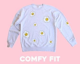 Adult Grey Glitter Fried Egg Unisex Sweatshirt Jumper - COMFY FIT