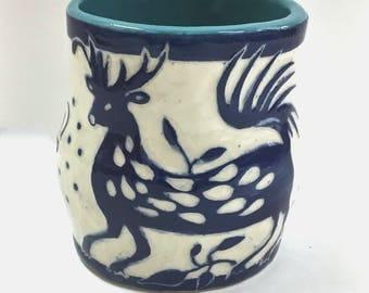 OTOMI Style SGRAFFITO Animal Mug - Hand Built Fantasy Elk / Deer / Antelope Pottery Carved Design - Flowers Plants -Personalize