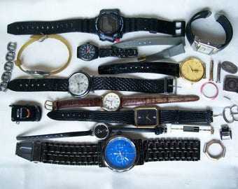 12 Pc WATCH LOT Men Women Wristband Cuff Pendant Flip Phone Battery Assorted Parts Repair Destash Craft Upcycle Geneva Timex Sutton .1
