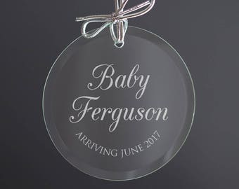 Personalized Christmas Ornament - Expecting Baby Ornament, Pregnancy Announcement Ornament, Parents to Be, Baby on the Way,  SHIPS FAST
