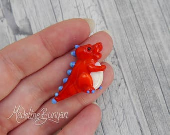 Cute Baby Dinosaur - Sculpted Lampwork Bead Focal,Red and Blue Spotty