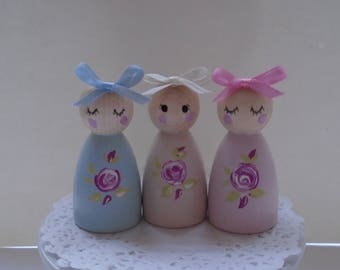 NEW*** Hand Painted Wooden Peg Doll Set - Rose