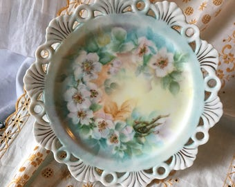 Vintage Hand Painted Floral Pedestal Small Cake Plate