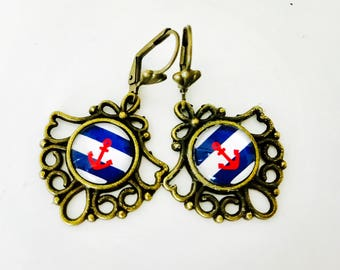 Anchor earrings, red white and blue dangles, july 4th, earrings, nautical, All American