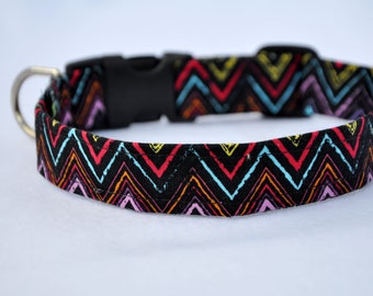 "ZigZag Print Dog Collar - 12"" - 17.5"" Length, Red, Yellow, Blue, Black, Orange, Purple"