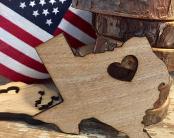 Wood shape cut out, any state, shape, size , custom cut out. Texas shape, wood magnet , wood keychain, customize magnet, unfinished wood