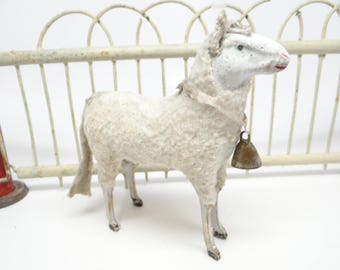 Large 4 3/4 Inch 1930's German Wooly Sheep with Bell, for Putz or Christmas Nativity