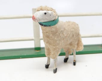 Antique 1930's German 2 1/4 Inch Wooly Sheep, for Putz or Christmas Nativity, Easter