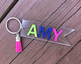 Personalized Clear Acrylic Name Banner Keychain