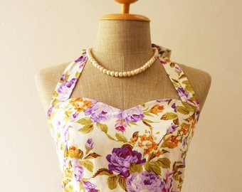 Mid Year SALE Purple Floral Sundress Vintage Style Floral Bridesmaid Dress Tea Party Dress Retro Rockabilly Dress Summer Dress