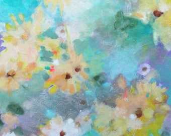 """Soft Abstract Floral Painting, Intuitive Gestural Original Inspired By Nature """"Summer Spontaneity"""" 20x24"""""""