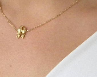 SALE Gold Love Bird Charm Necklace