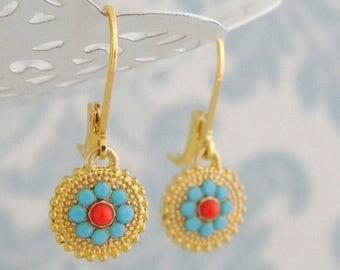 SALE Turquoise Swarovski Coral Leverback Earrings
