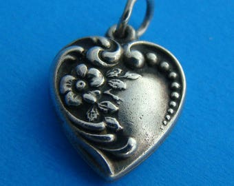 Vintage 1940's Sterling Puffy Heart Charm