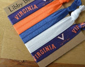 University of Virginia Set of Five No Pull No Crease FOE Hair Ties Cavaliers