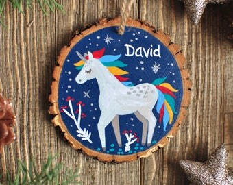 Fairytale Gift, Unicorn Ornament, Custom Ornaments for Kids, Ornaments for Girl, Boy Ornament, Christmas Gifts Kids, Personalized Gifts