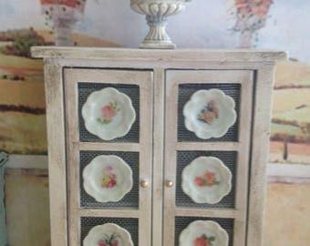 Dollhouse Miniature Shabby Chic Pie Saver Kitchen Cupboard Kitchen Pantry Storage Cabinet