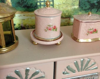 Dollhouse Miniature Shabby Chic Vintage Style Round Tea Caddy or Biscuit Barrel with Salver Shabby Pink