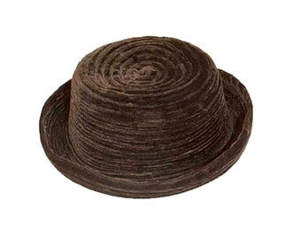 Brown Hat, Slouchy Hat, Foldable Hat, Travel Hat, Chocolate Brown, Hat Size 22, Vintage Hats Women