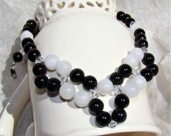 Black Onyx Quartz Sterling Silver Jewelry Set