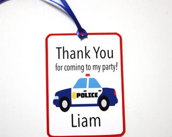 Set of 12 Personalized Police Cars Thank You Party Favor Tags, Happy Birthday Party, Police Car Party Decorations Paper and Supplies