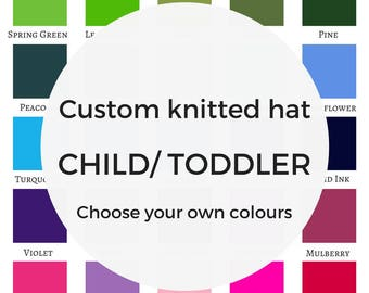 Custom CHILD/ TODDLER knitted hat, children knitted hat, child beanie, child toque, Christmas gift children, etsy UK, personalised hat