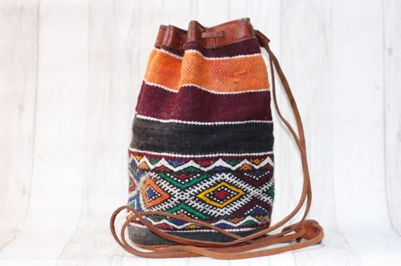 VINTAGE MOROCCAN BAG - Embroidered ethnic bag - Hippie rucksack - Kilim bag - Aztec rucksack - Hobo Bag - Shoulder bag - Satchel - Bespoke