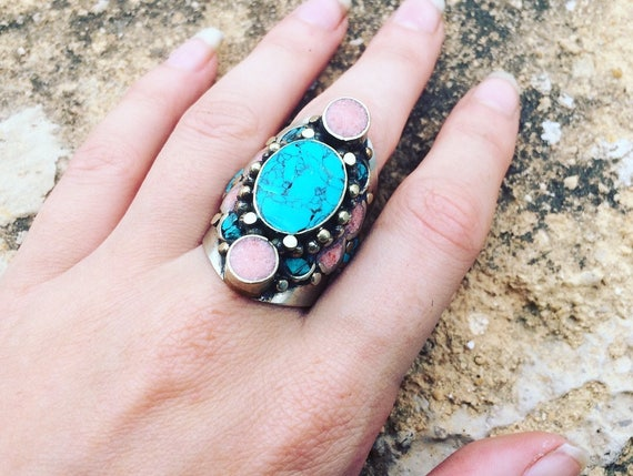STATEMENT TURQUOISE RING - Vintage ring - Adjustable ring - Crystal Ring - Antique style - Handmade - Moroccan - Coral - Turquoise - Gift