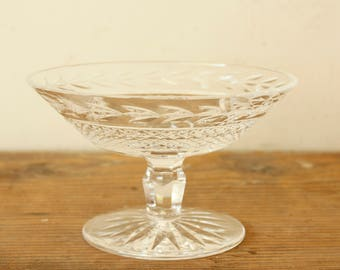 Vintage Clear Glass Signed Waterford Crystal Cut Glass Glandore Compote Candy Dish Pedestal Bowl Special Occasion