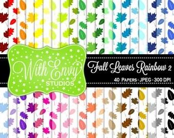 SALE  Rainbow Leaves Digital Scrapbook Paper Pack - Fall Leaves Paper Set - Leaf Scrapbook Paper - Rainbow Scrapbook Paper - Nature Paper