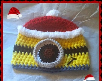 On Sale Minion Santa Baby Hat, Baby Toddler or Kids Size Handmade Minion Christmas