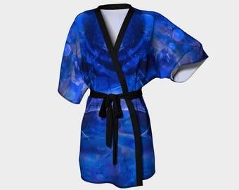 Cozy Blue Kimono Robe with