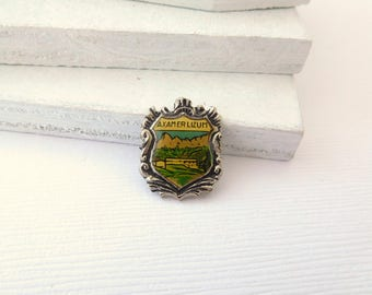 Vintage Axamer Lizum 1964 Olympics Souvenir Small Brooch Hat Lapel Pin Jewelry