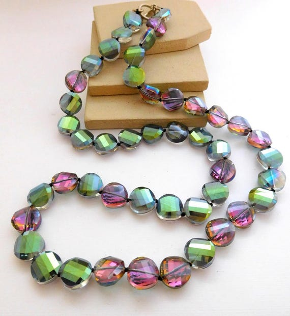 Vintage Tourmaline Style Crystal Bead Sterling Silver Clasp Long Necklace F50