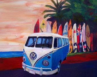 Surf Bus Series - Blue White VW Surf Bus T1 Kombie Bulli at Surf Board Beach - Limited Edition Fine Art Print