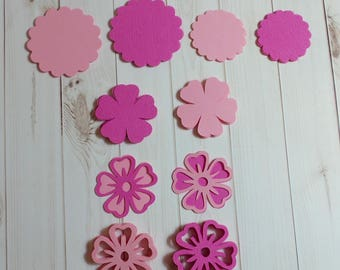 die cut paper embellishment flowers, pink flowers, scrapbooking embellishments, flower decoration, pretty in pink, card making flower