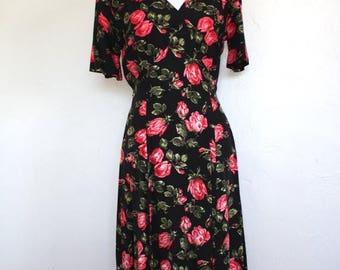 Clearance Sale Vintage Rose Print Midi Dress