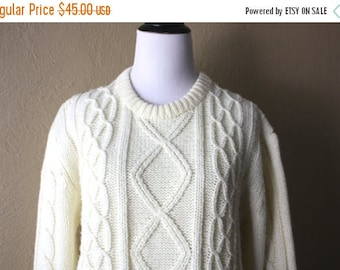 Clearance Sale Vintage Cream Fisherman Style Sweater