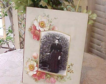 Beautiful Victorian Era Photograph Album Page with Gorgeous Wild Roses