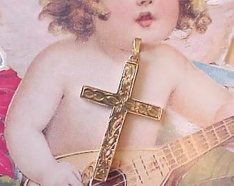 Lovely Little Vintage 10K Gold Cross with Renaissance Designs