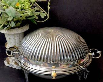 "Beautiful Early Victorian Silver Revolving Dome  Breakfast Platter-""Vita Est Vigilia"""