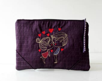 Purple Embroidered Clutch,faux crocodile,couple embroidery boy,girl & hearts,romantic kiss,Bridesmaid handbag.Vegan,wedding,gift for her