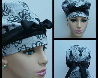 Handmade Woman Medical Scrub Hat -Black Octopus - 100 % cotton