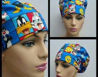 Mini - Chemo Cap - Nurses Hat - European Style - Looney Tunes - Blue  - 100 % cotton